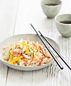 Crab meat, cucumber and red and yellow pepper bo-bun