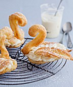 Choux pastry swans with Chiboust cream