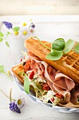 Savoury waffle with ham, tomatoes and cheese