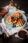 Waffles Liégeoises with chocolate whipped cream