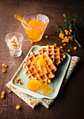 Waffles Liégeoises with orange marmelade