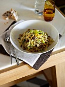 Tagliatelles with crab and almonds
