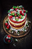 Almond and strawberry Red velvet cake