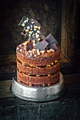 Chocolate, peanut and caramel cake