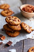 Chocolate chip and pecan cookies