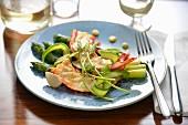 Gambas a la plancha and garlic cream, asparagus duo