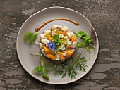 Sea bream tartare with orange, lime zests and borage flowers