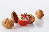 Cherry tomato stuffed with fromage frais and walnuts