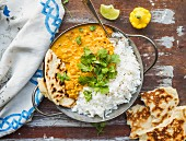 Orange lentil, coconut milk and curry dhal, rice