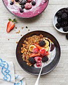 Summer fruit, granola and coconut yoghurt fruit bowl