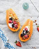 Papaya and coconut yogurt boats