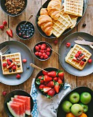 Waffle and fresh fruit brunch