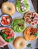 Selection of different bagel sandwiches