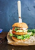 Chickpea patty and vegetable burger