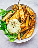 Roasted potato chips, avocado cream