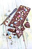 Easter sugar egg and chocolate bar