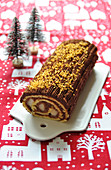 Chocolate and pear Christmas log cake