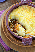 Haddock and cabbage mashed potato pie