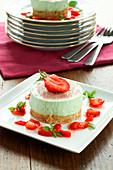 Small light strawberry-basil cake