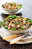 Oriental chickpea, aubergine, olive and thinly sliced almond salad
