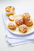 Chouquettes with banana cream filling