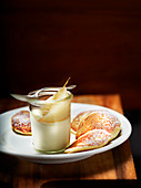 Pear Fromage blanc dessert with sugar pancakes