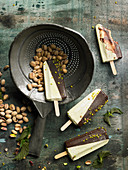 Pistachio and chocolate ice cream bars