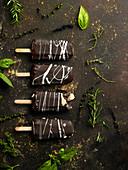 Dark chocolate and ice cream bars