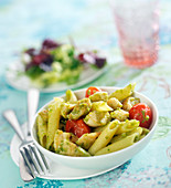 Penne with chicken, pesto and roasted cherry tomatoes