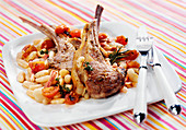Lamb chops with white haricot beans