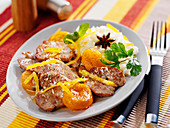 Sweet and salty thinly sliced pork with apricots and coconut milk