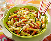 White haricot bean, vegetable and diced ham fricassée