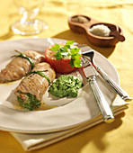Veal escalope rolls stuffed with parsley purre