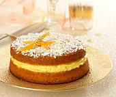 Walnut sponge cake with orange and Grand Marnier cream filling