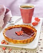 Strawberry and pink praline tart