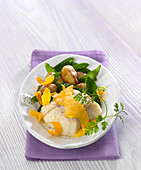 Piece of cod in mimolette creamy sauce, sweet pea and grenaille potato fricassée