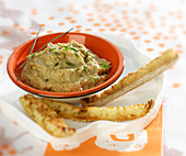 Eggplant puree and finger toasts