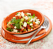 Diced cucumber, tomato and feta salad