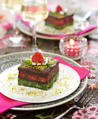 Pistachio,chocolate and raspberry Dacquoise