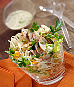 Cabbage, grated carrot, thinly sliced turkey and cashew salad