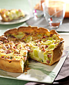 Leek and diced bacon quiche