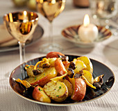 Apple, potato and mushroom stir-fry