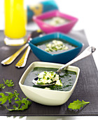 Cream of mixed lettuce soup with goat's cheese and chives