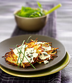 Potato galettes with Roquefort