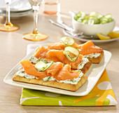 Cream cheese and smoked salmonNordic pizza bread open sandwich