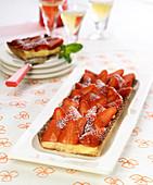 Rectangular strawberry tart