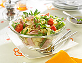 Pasta, green bean,cherry tomato, rocket lettuce, ham and grilled pine nut salad
