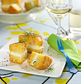 Cream cheese mousse and salmon small Nordic cake appetizers