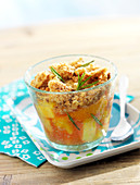 Individual peach and rosemary crumbles