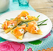 Smoked salmon french toast appetizers